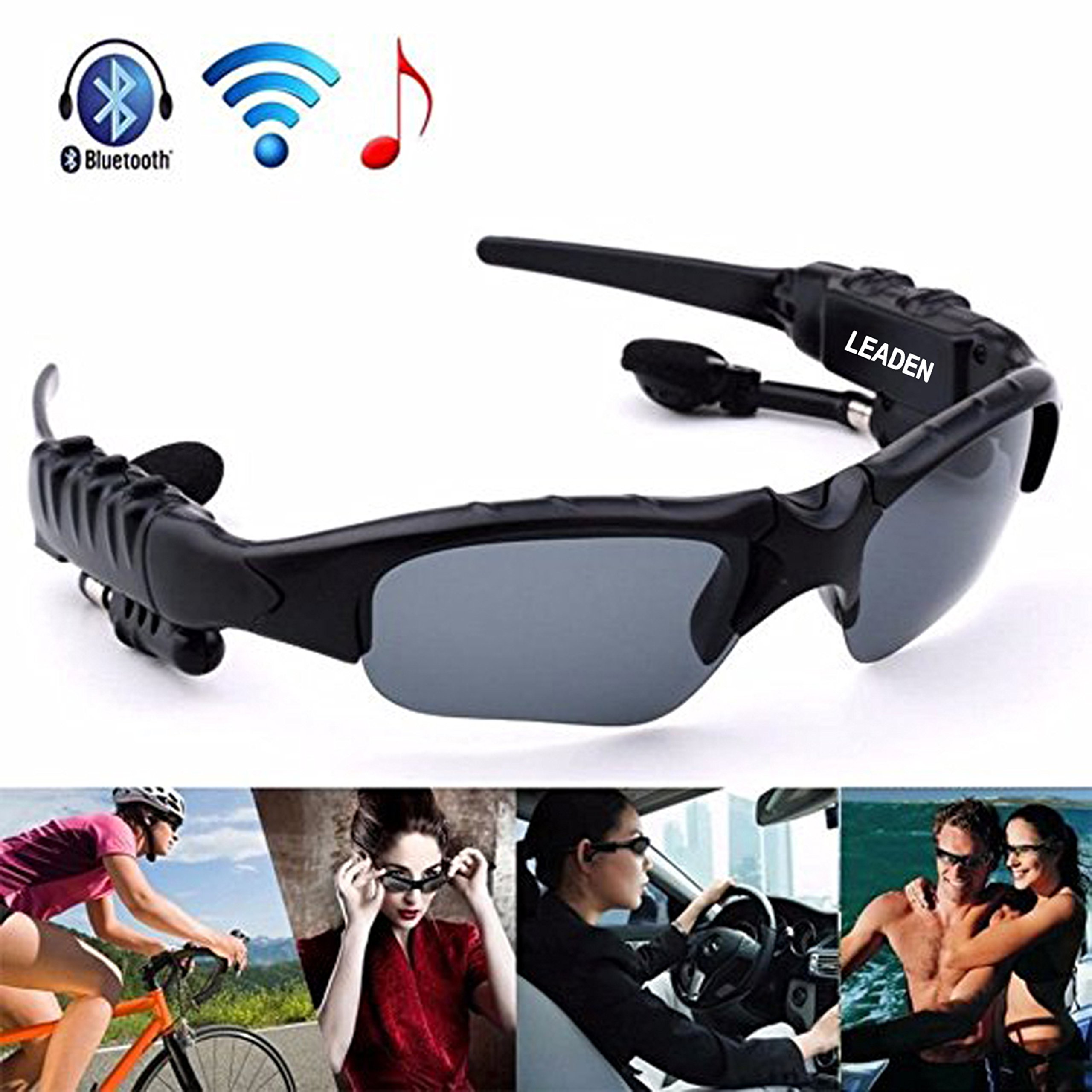 Leaden Wireless Bluetooth Headsets Polarized Lenses Sunglasses V4.1 Stereo Handfree Headphone for IPhone Samsung Most Smartphone or PC (black)