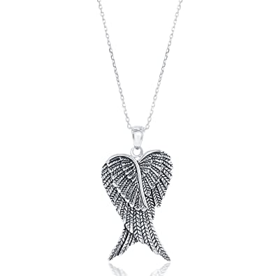 Beaux Bijoux Sterling Silver Double Angel Wings Heart Pendant with 18 quot   ... 2232f1991