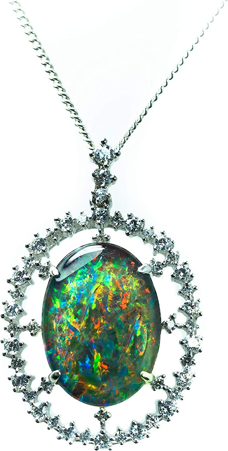 Australian Triplet 9x7mm Jewellery 18ct White Gold Plated Chain and Certificate included Genuine Opal Necklace Pendant Jewelry
