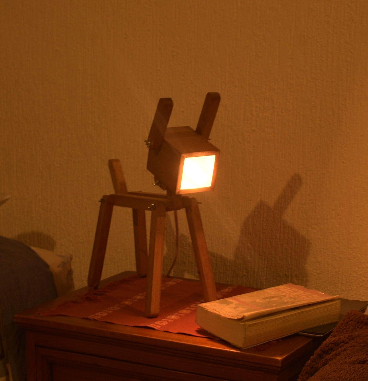 Amazon.com: Lámpara de Perrito de madera: Handmade
