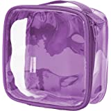 Clear TSA Approved 3-1-1 Travel Toiletry Bag/Transparent See Through Organizer (Purple)