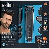 Braun MultiGrooming Kit MGK3080 Rifinitore di Precisione Regolabarba 9 in 1 per lo Styling di Barba, Corpo e Capelli con Rasoio Gillette Fusion ProGlide in Dotazione, Nero/Blu