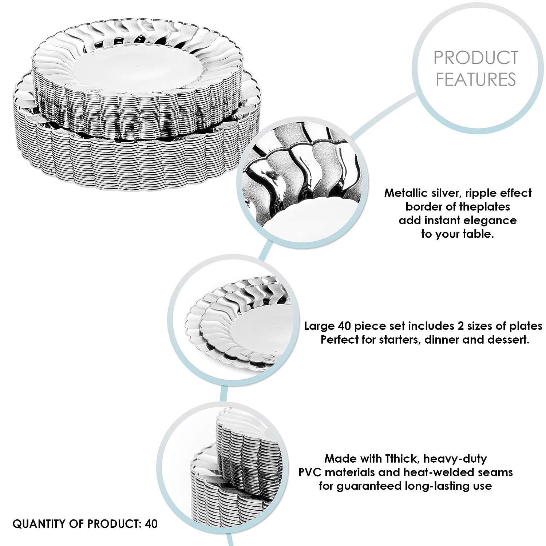 20 Assiettes Dessert Vaisselle Blanc /& Argent R/ésistant /& R/éutilisable Mariages F/êtes Anniversaires. 40 /Él/égant Assiettes Plastique Dur Jetables avec Bordure Ondul/ée Argent/ées 20 Assiettes D/îner