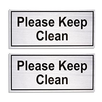 Magnificent Amazon Com 2 Pack Bathroom Rules Signs Please Keep Clean Beutiful Home Inspiration Semekurdistantinfo