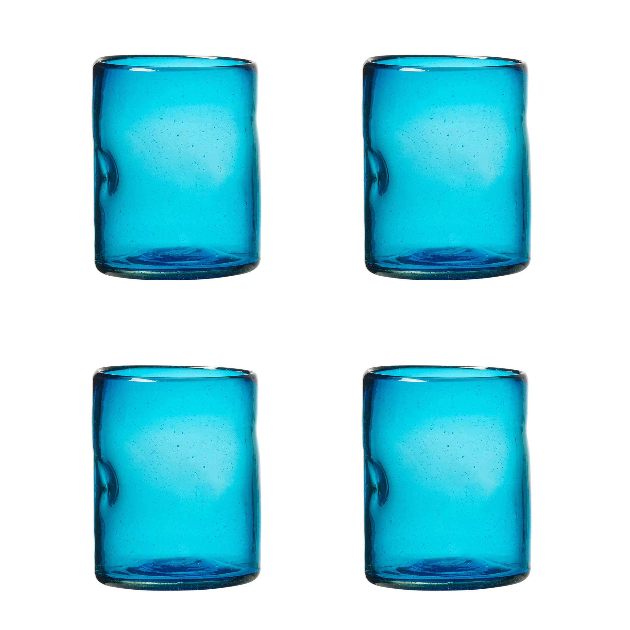 Amici Home, A7MCR065S4R, Ensenada Collection Double Old Fashioned Drinking Glass, Mexican Artisan Handmade Glassware, Recycled Glass, Dishwasher Safe, Aqua, Set of 4, 12 Ounces