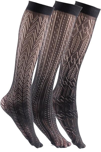 ff458c9a1 Felicity Womens Knee High Fishnet Patterned Trouser Socks Dress Socks