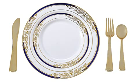 Plastic China Plate Silverware Combo Serving For 20 (115 Piece Set)  Signature Blue