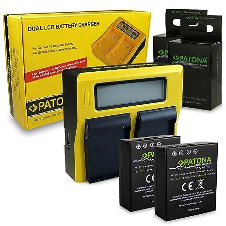 PATONA LCD Cargador de Batería Doble / Dual + 2x Premium ...