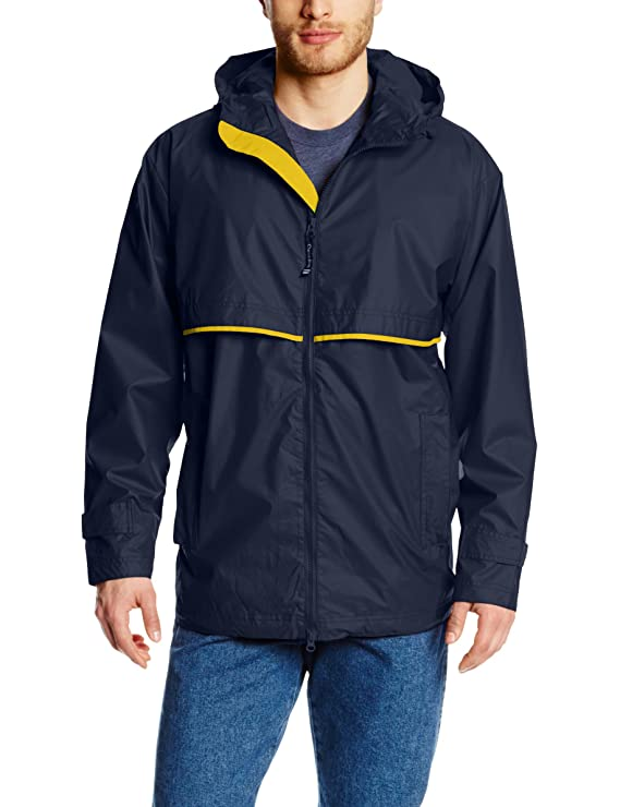Charles River Apparel Men's New Englander Waterproof Rain Jacket (Reg & Ext Sizes), True Navy/Yellow, 4XL best men's raincoats