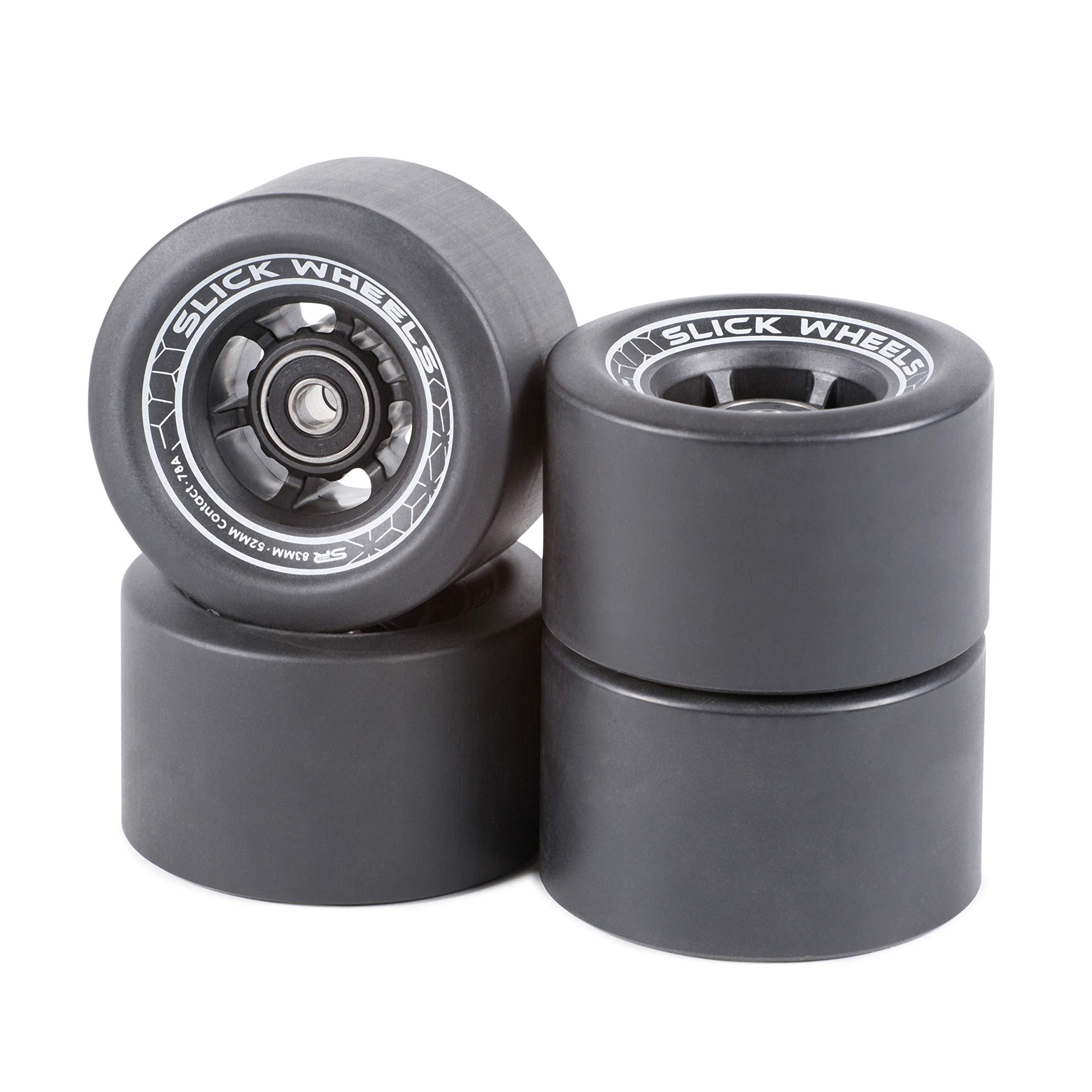 Slick Revolution Black Electric Skateboard and Longboard Wheels 78A (Black)