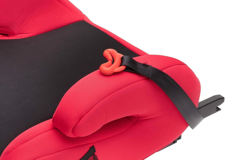 Autositz der Gruppe 3 passend f/ür Autos mit oder ohne Isofix Clamaro Guardian Mini Autositzerh/öhung mit Isofix ECE R44//04 22-36 kg Sitzerh/öhung bequem gepolstert mit Armlehnen Schwarz//Rot