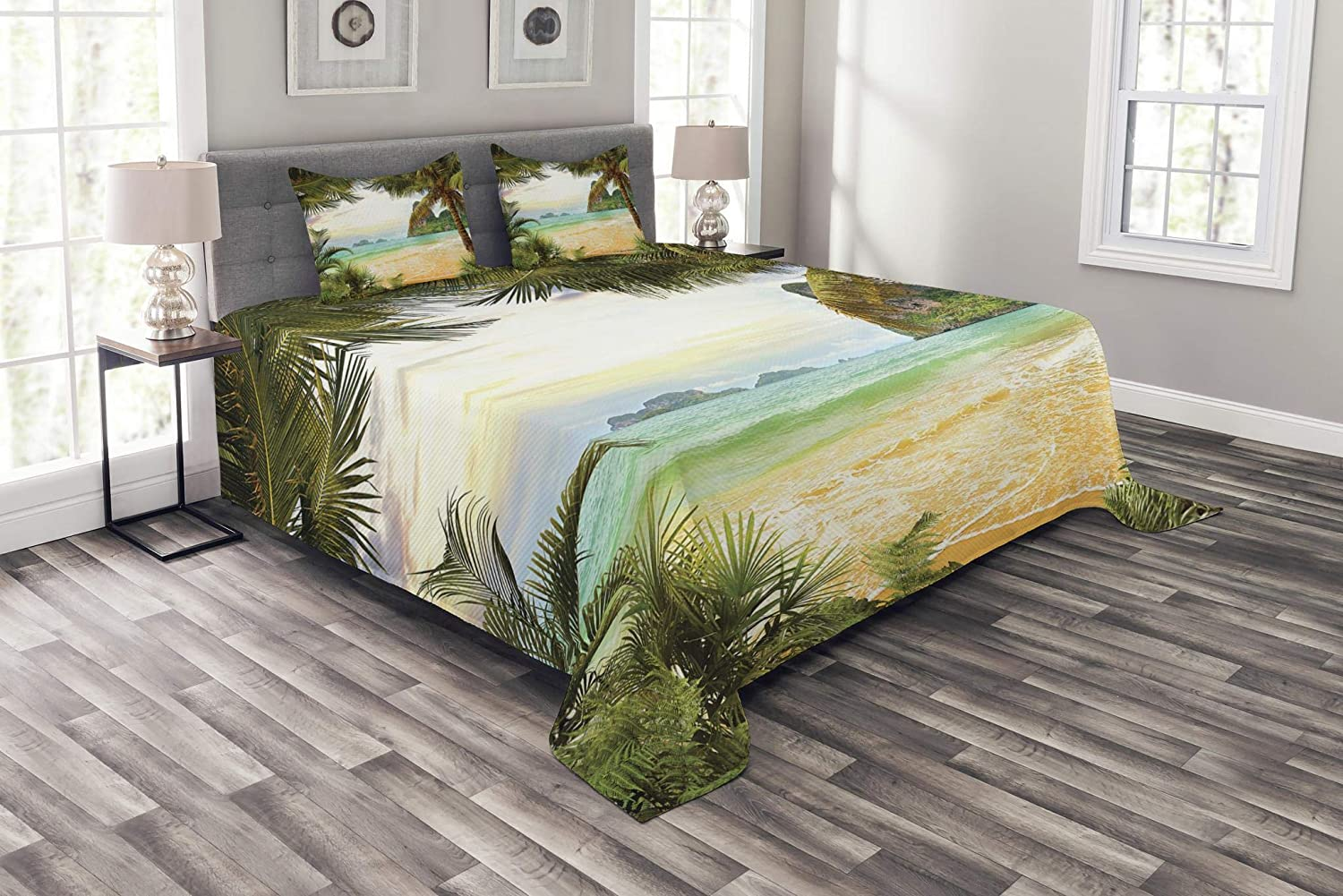 Ambesonne Ocean Bedspread, Palm Coconut Trees and Ocean Waves Mountains on Paradise Island Beach Image, Decorative Quilted 3 Piece Coverlet Set with 2 Pillow Shams, Queen Size, Green Cream