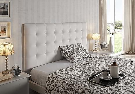 Living Sofa CABECERO Cama Gran CAPITONÉ DE Alta Gama TAPIZADO EN MICROPIEL Color Blanco 160 X 80 Todas Las Medidas
