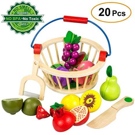 0d9f35c34868 Ylovetoys Play Food Pretend Cutting Fruit Play Food Set Wooden Magnetic Kitchen  Cooking Toddler Toys with
