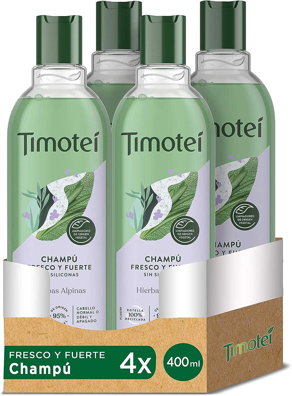 Timotei champú fresco y fuerte para cabello débil y apagado con extracto de hierbas alpinas con limpiadores de origen vegetal, 95% ingredientes de origen natural y sin siliconas 400mlx4