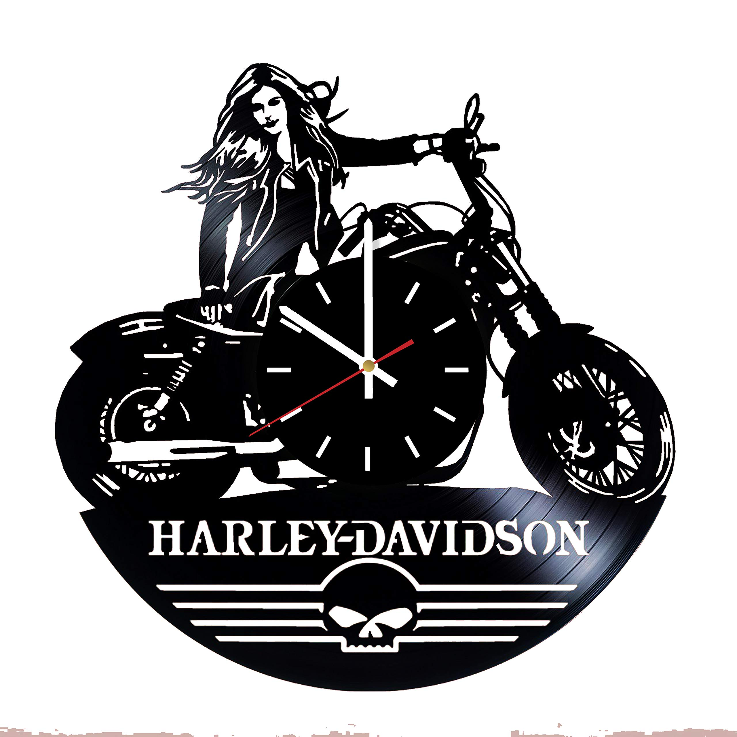 Everyday Arts Welcome Harley-Davidson Design Vinyl Record Wall Clock - Get Unique Bedroom or Garage Wall Decor - Gift Ideas for Friends, Brother – Harley-Davidson Unique Modern Art … by Everyday Arts