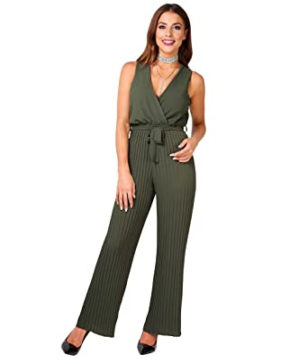 3eb7dc76646 KRISP 5488-KHA-S  Pleated Leg Wrap Front Jumpsuit Khaki  Amazon.co.uk   Clothing
