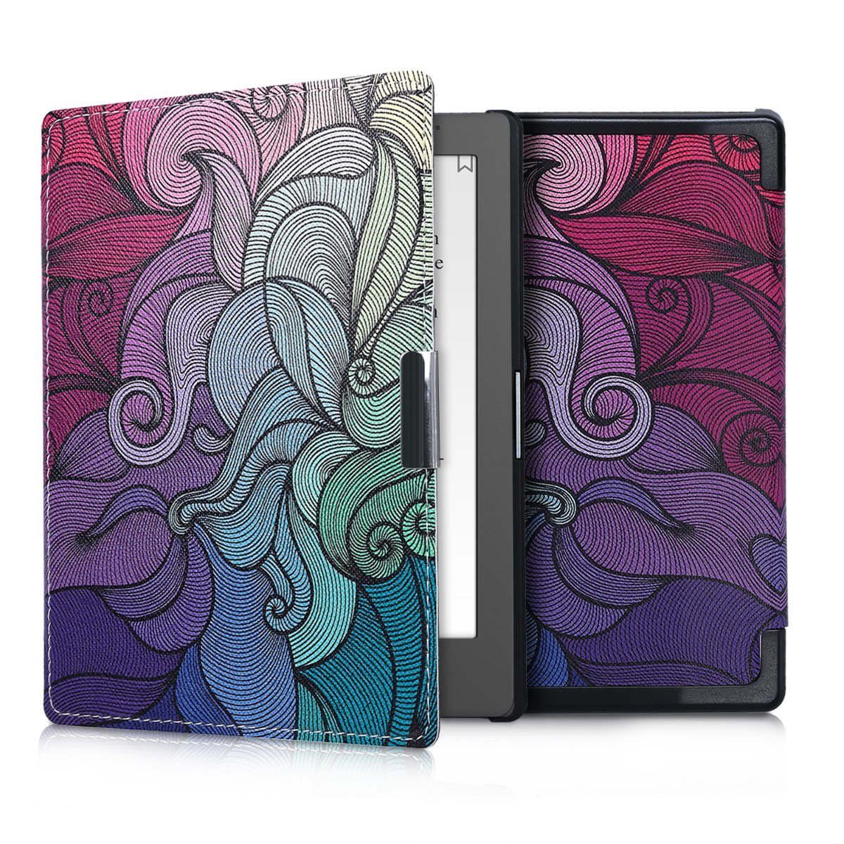 kwmobile Case for Kobo Aura Edition 1 - Book Style PU Leather Protective e-Reader Cover Folio Case - dark pink blue green