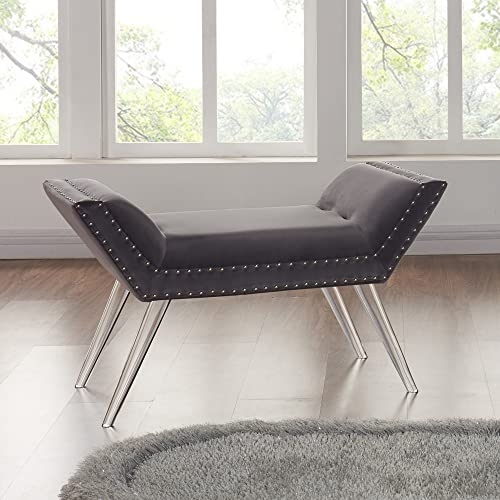 Armen Living Silas Bench in Grey Velvet and Acrylic Finish