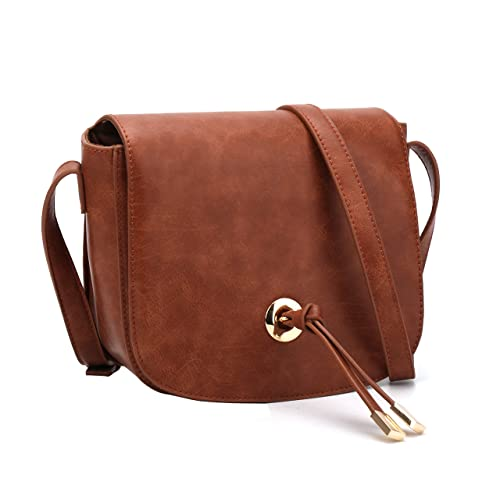 e016d98f4416 Women Crossbody Bag Saddle Shoulder Bag Small Purse Hasp Satchel and Tote  PU Leather