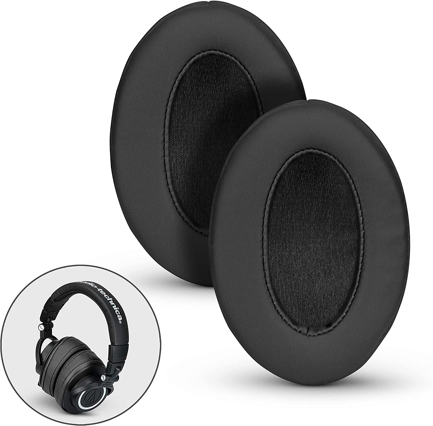 BRAINWAVZ Angled Ear Pads for ATH M50X, M50XBT, M40X, M30X, HyperX, SHURE, Turtle Beach, AKG, ATH, Philips, JBL, Fostex Replacement Memory Foam Earpads & Fits Many Headphones (See List), Pro Black