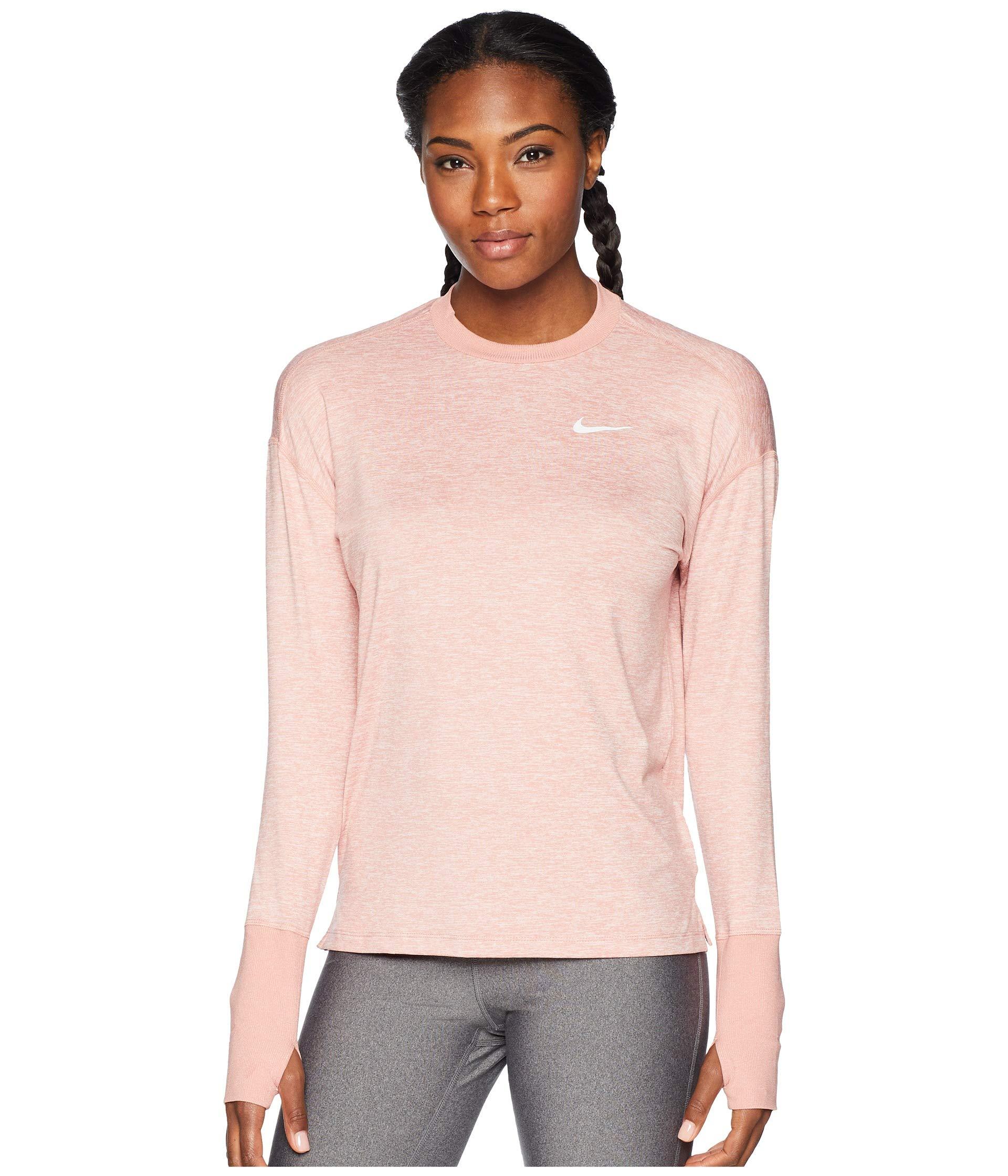 NIKE Women's Element Long Sleeve Running Shirt (Rust Pink, X-Small)