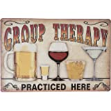 """Uniquelover Group Therapy Practiced Here Retro Vintage Tin Sign 12"""" X 8"""" Inches"""