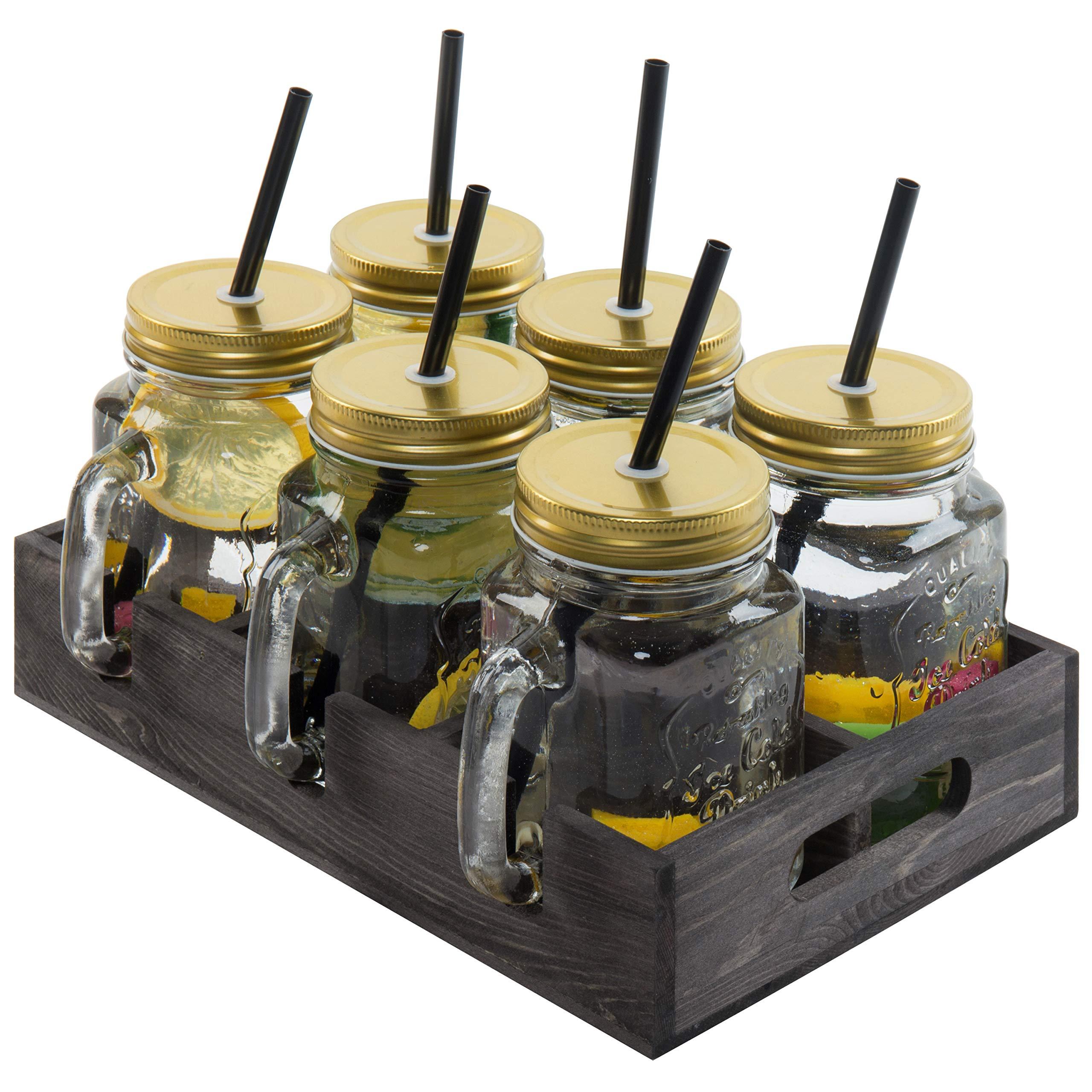 MyGift Mason Jar Mug Glasses with Lids, Straws & Wood Caddy, Coffee, Set of 6 by MyGift