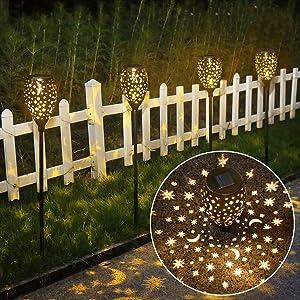 newvivid Star Moon Solar Lights Decorative Solar Lamps Garden Stake Light, Solar Lights Outdoor Garden Stake Light for Pathway Yard Lawn Patio Bronze 2 Packs