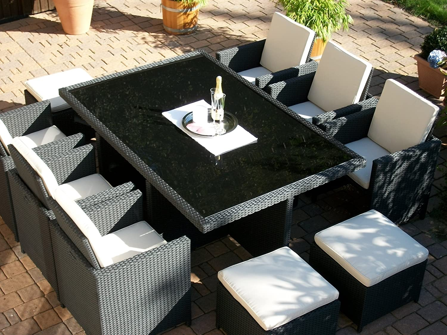 polyrattan rattan geflecht garten sitzgruppe toscana xl in schwarz tisch 6 sessel 3 hocker kaufen. Black Bedroom Furniture Sets. Home Design Ideas