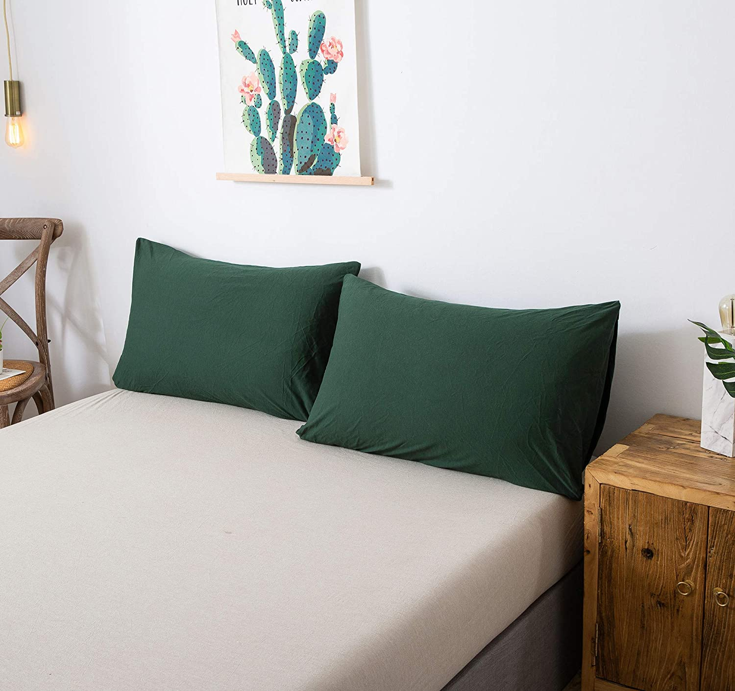 """Beige Blue, Queen Household 100/% Jersey Cotton Pillowcase 20/""""x30/""""-Light Weight Comfortable Extremely Durable Set of 2"""