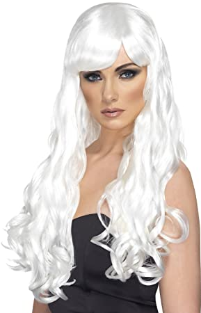 Smiffys Generic - 351 939 - peluca ondulada larga blanca Mujer - Talla única
