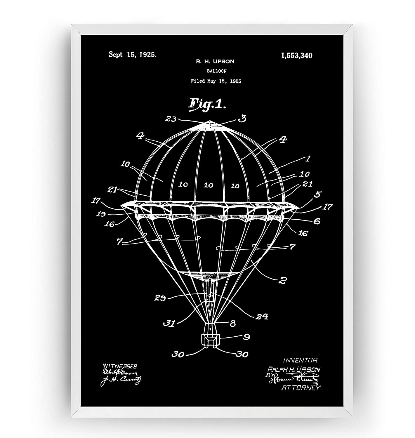 Patent Print Patent Poster Hot Air Balloon 1923 Patent Poster Office Art