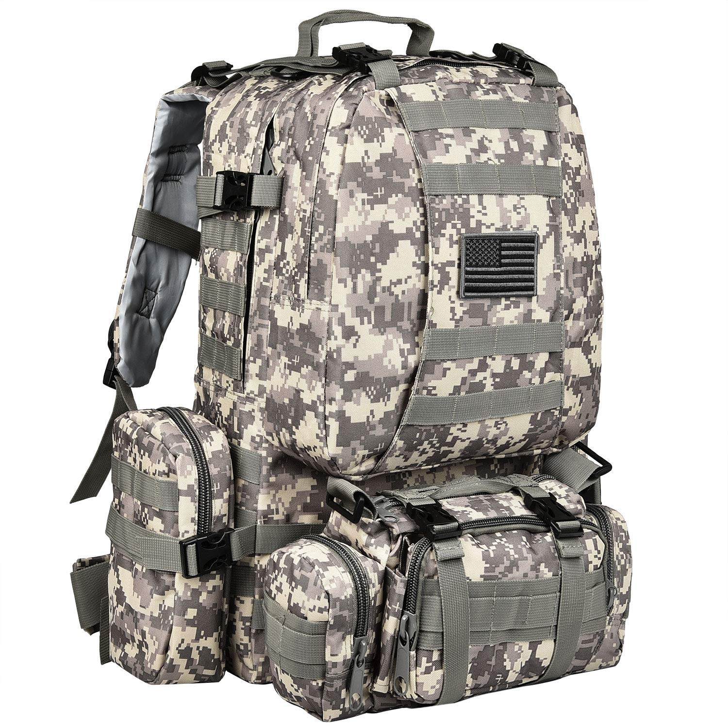 CVLIFE Tactical Military Backpack 60L Built-up Army Rucksacks Outdoor 3 Day Assault Pack Combat Molle Backpack for Hunting Hiking Fishing with Flag Patch Camouflage ACU by CVLIFE (Image #1)