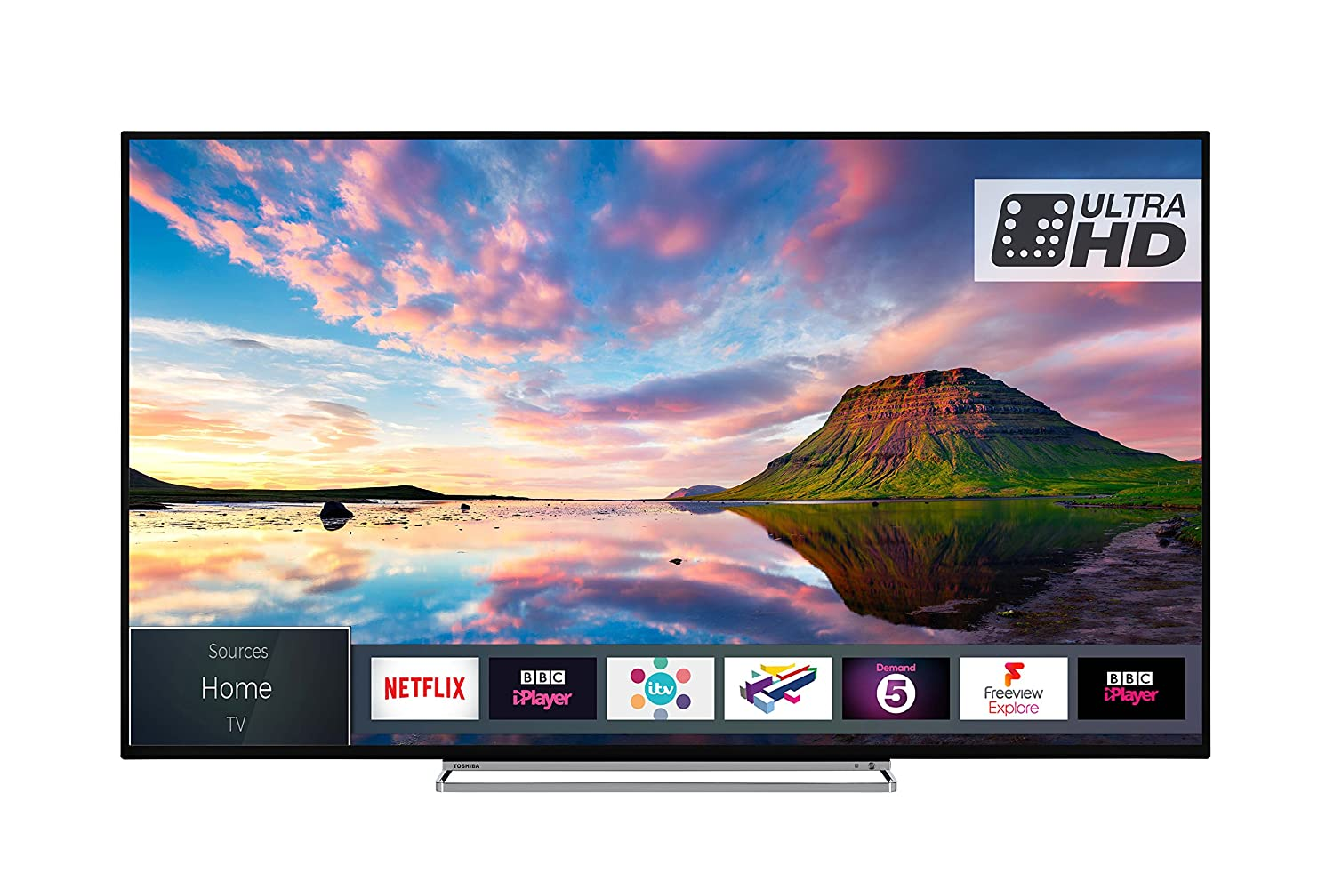 53235c95f Toshiba 65U5863DB 65-Inch Smart 4K Ultra-HD HDR LED TV WiFi with Freeview  Play - Black/Silver (2018 Model): Amazon.co.uk: TV