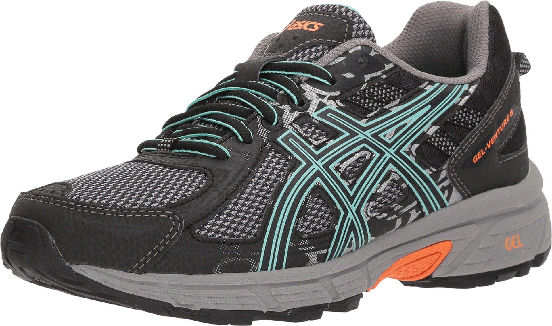 ASICS Womens Gel-Venture 6 Running Shoes Black/Ice Green/Orange 5 B(M) US