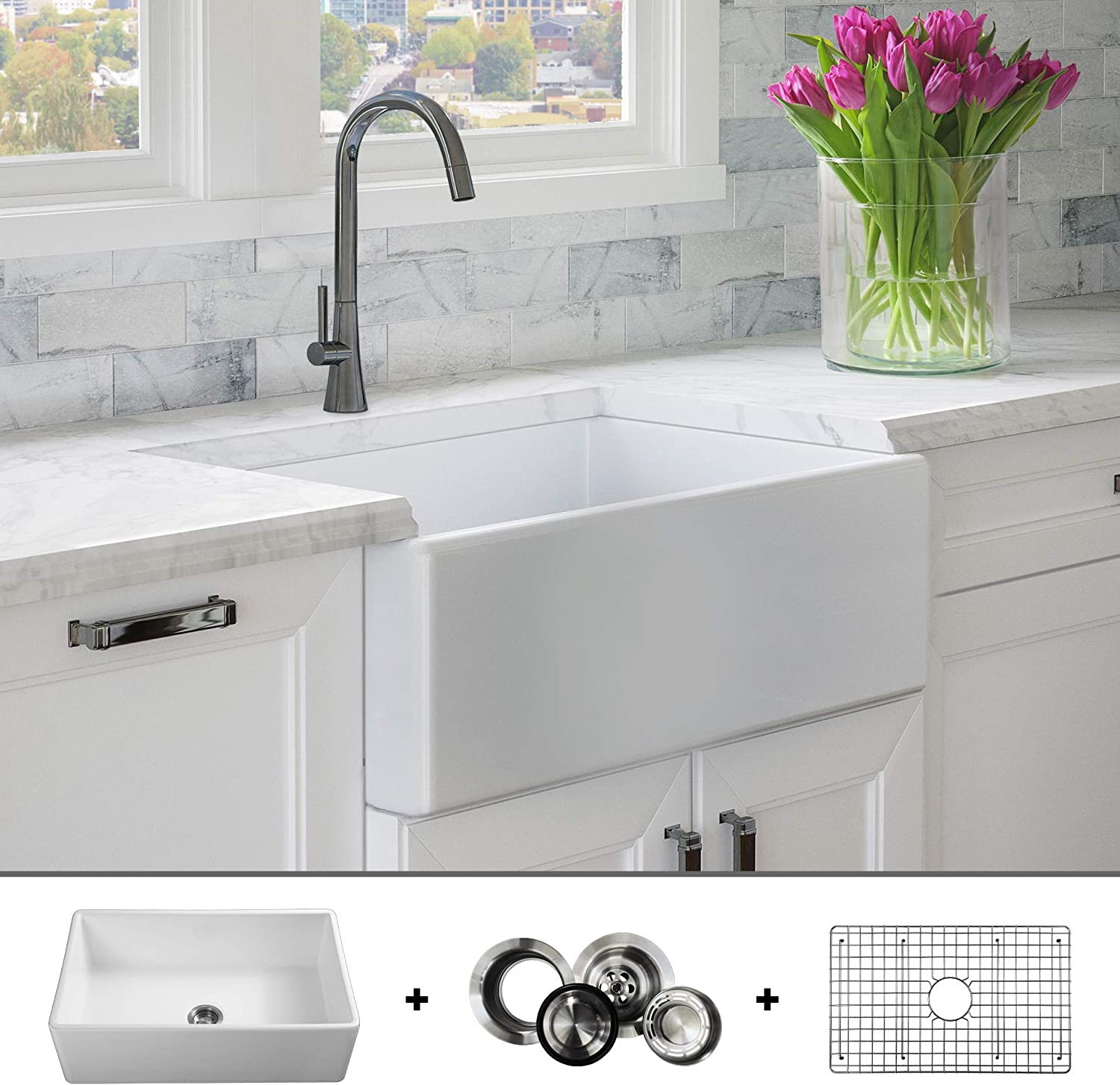Luxury 30 Inch Modern Farmhouse Ultra Fine Fireclay Kitchen Sink In White Single Bowl Flat Front Includes Grid And Drain Fsw1001 By Fossil Blu