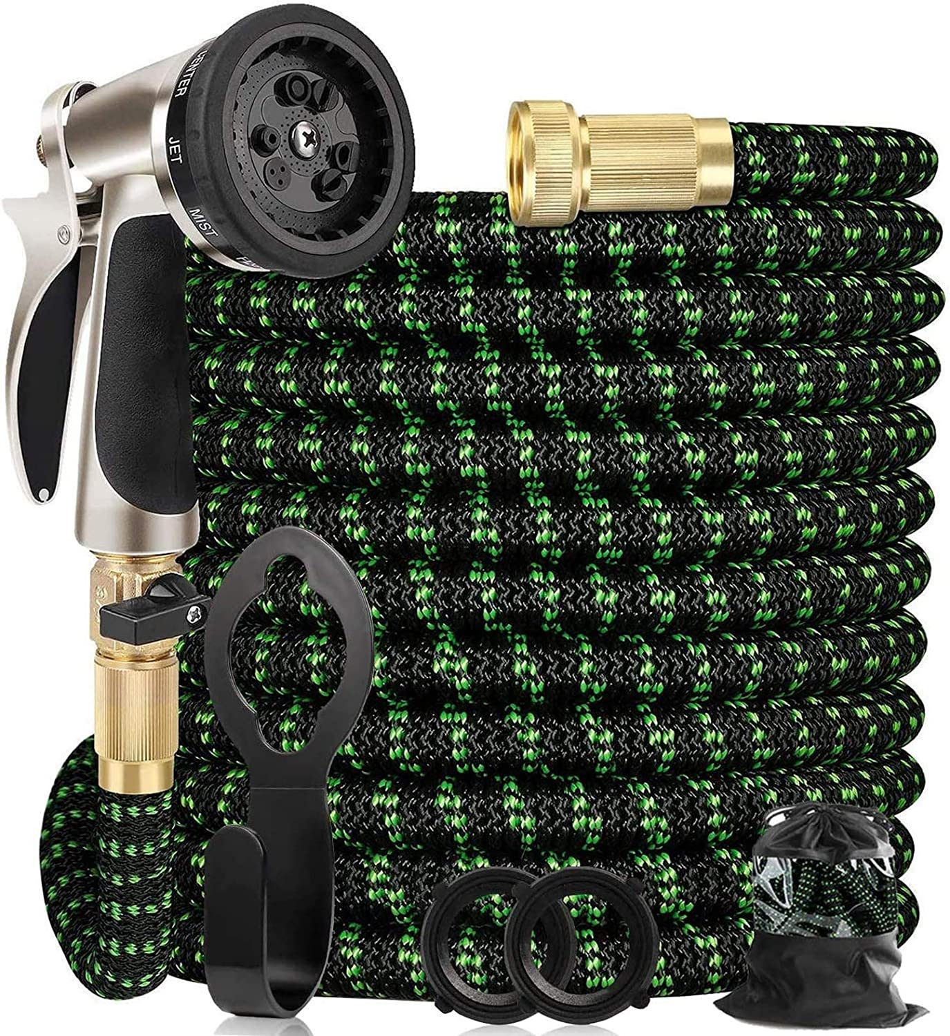 "Haliluya Garden Hose 100FT, Expandable Garden Hose & 9 Function Spray Nozzle 100 FT Lightweight Water Hose with Durable 4-Layers Latex | Extra Strength 3750D Fabric | 3/4"" Solid Brass Connectors"
