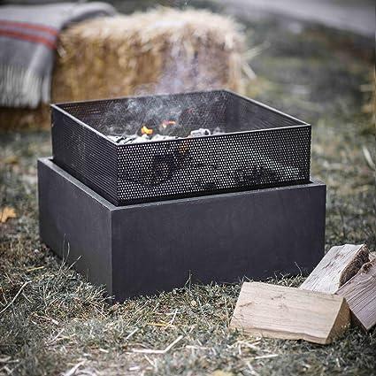 Ckb Ltd Square Garden Outdoor Fire Pit 38 X 55cm Heat Frost Resistant Powder Coated Steel Fiber Clay For Wood Charcoal Amazon De Garten