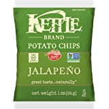 Kettle Brand Potato Chips, Jalapeno, Single-Serve 1 Ounce Bags (Pack of 72)