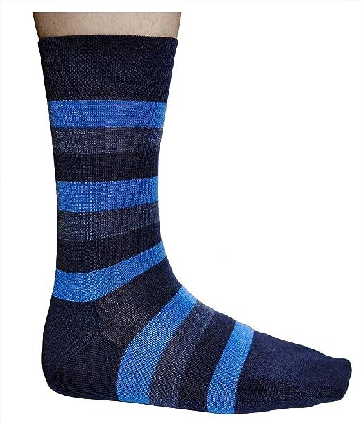 vitsocks Calcetines Hombre Lana MERINO para Frio, Calcetín Caliente (2 Pares: Azul o Negro Sólido y a Rayas): Amazon.es: Ropa y accesorios
