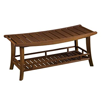Amazoncom Furniture HotSpot Teak Outdoor Bench Shower Bench - Teak picnic table and benches