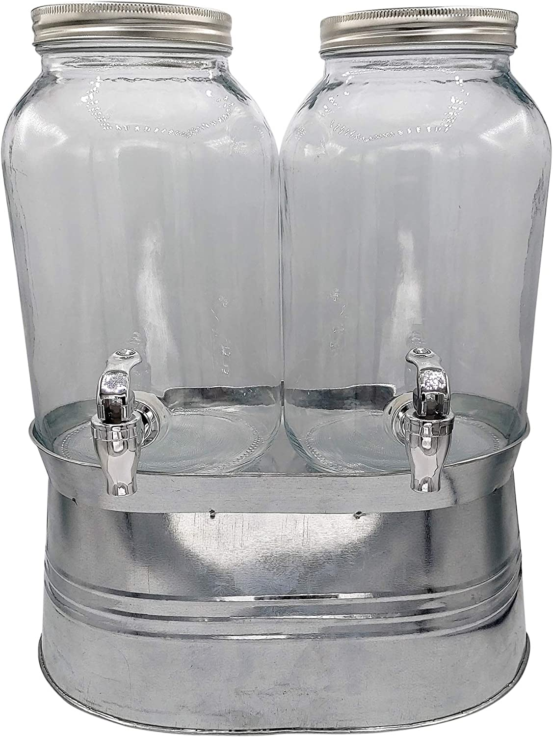 Mason Jar Glass Beverage Dispenser with Spigot - 1 Gallon Drink Dispenser with Stand - Metal Ice Bucket Stand (Double)