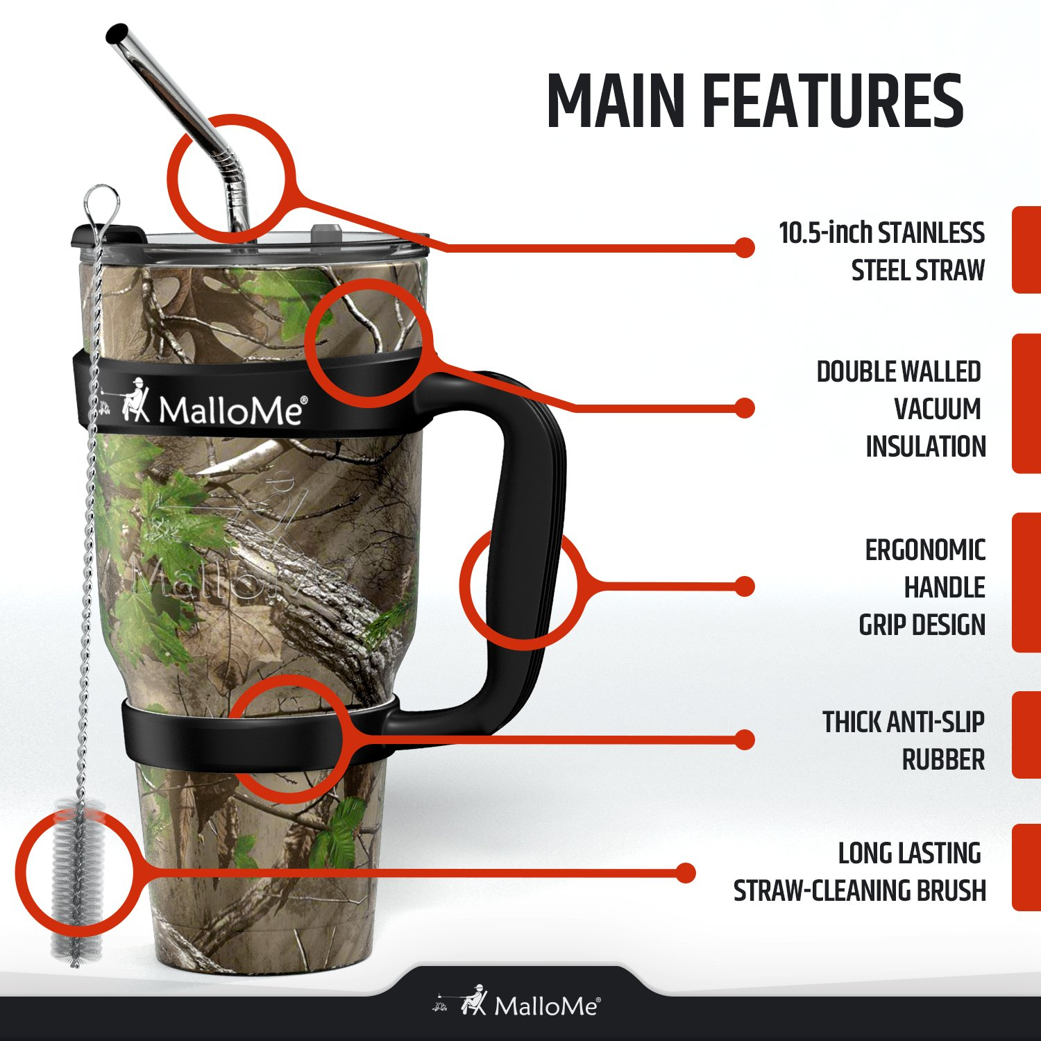 MalloMe Stainless Steel Vacuum Insulated 6-Piece Tumbler Set [Straw, Brush, Handle, 2x Lid Included] Forest Floor Camouflage 30 oz by MalloMe (Image #3)