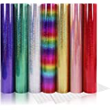 """Holographic Adhesive Vinyl Pack 12""""x12"""" Glitter Craft Vinyl Sheet Assorted 7 Colors with 2 Transfer Paper"""