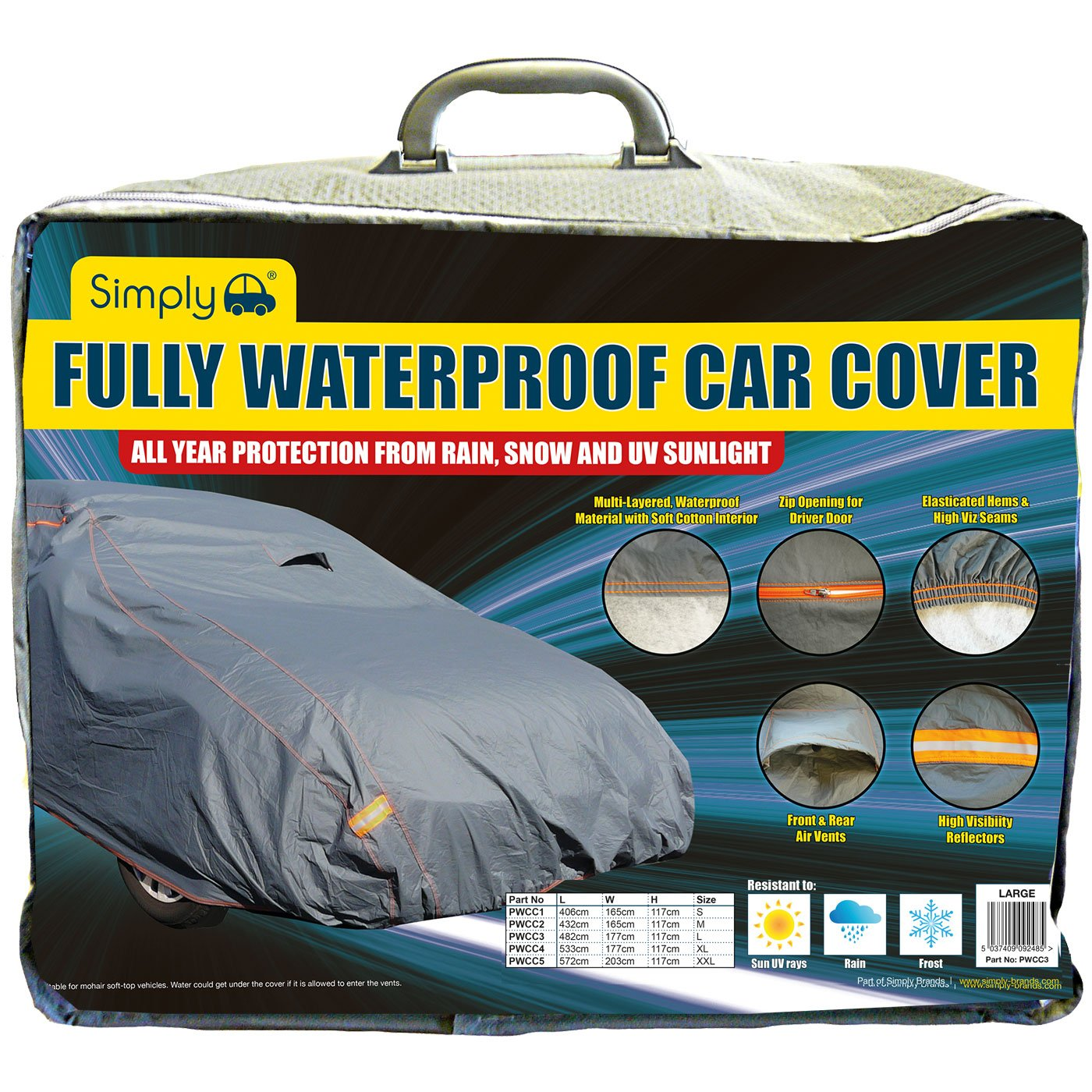 VW Passat Simply PWCC3 Large Fully Waterproof Car Cover BMW 3 Series Ford Mondeo