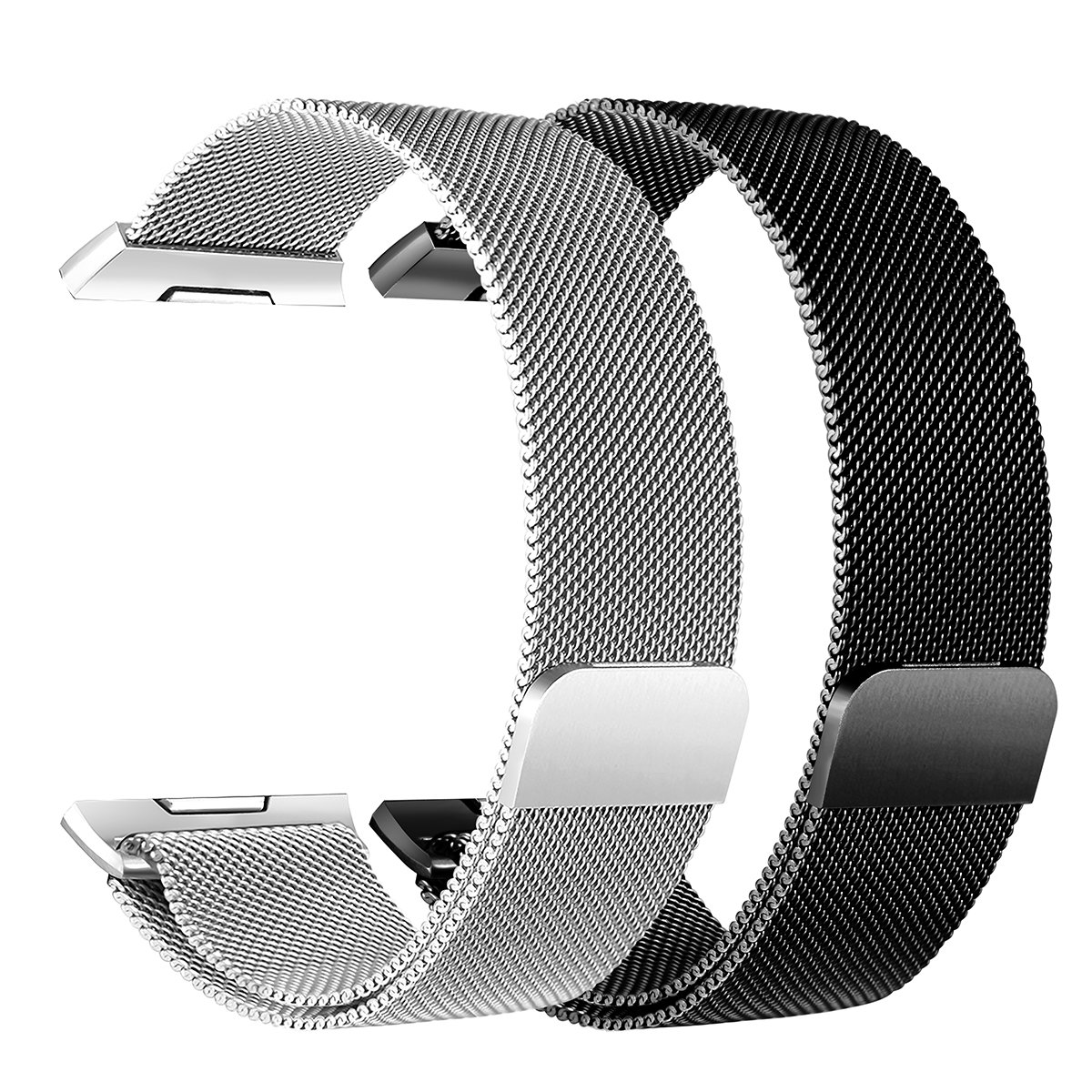 bayite For Fitbit Ionic Bands, Stainless Steel Milanese Loop Metal Replacement Strap with Unique Magnet Lock Accessories for Fitbit Ionic Small Silver + Black