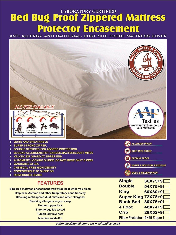 Funda de colchón antichinches, absorbente, antialergias, antiácaros del polvo, antibacteriana, no hace ruido, reduce el asma, la sensación de picor, ...