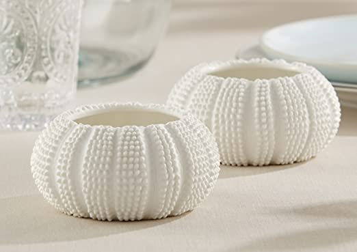 Christmas Tablescape Decor - White ceramic sea urchin tealight holders - Sea Tidings by Kate Aspen - Set of 2