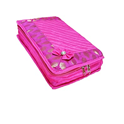 9e0b38b7d ixia impex Silk Quilted Cosmetic Organizer/Jewellery kit/Vanity Box (Pink)